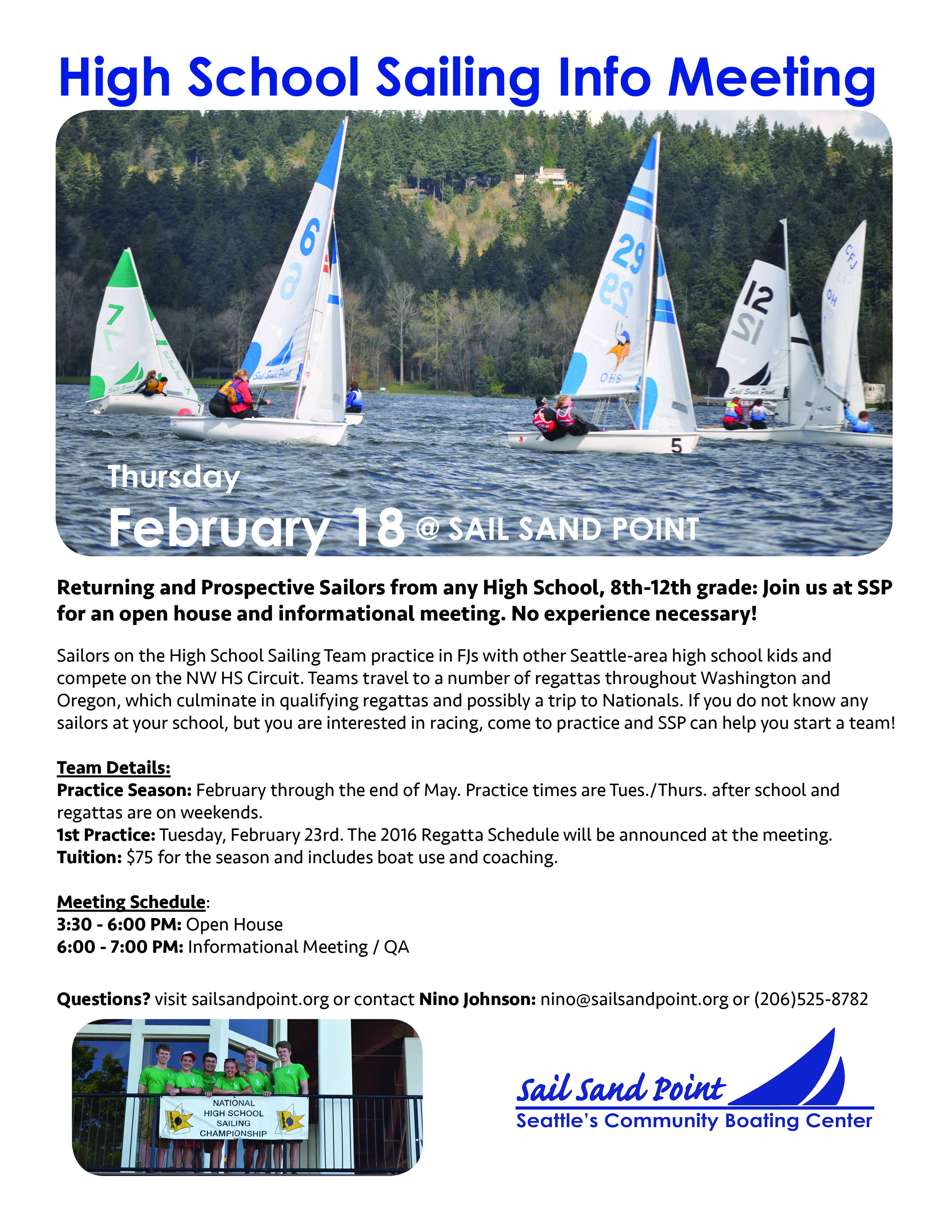 High School Sailing Info Meeting Flyer 2016